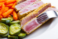 Tuna fillet with vegetables Stock Photo