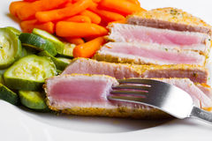 Tuna fillet with vegetables Stock Image