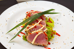 Tuna fillet on white dish with salad and soy sauce Royalty Free Stock Photography