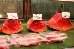 Tuna fillets for sale in Tsukiji fish market Stock Images