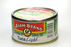 Tuna fish by Ayam Brand. SINGAPORE - JAN 25,2017: Tuna fish by Ayam Brand. Ayam Brand founded in Singapore in 1862, today among the popular household brand in stock photography