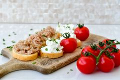 Tuna fish Bruschetta sandwich with cottage cheese. Healthy Tuna fish organic sandwich with bruschetta, fresh onion and cherry tomatoes stock photos