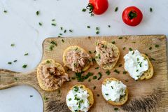Tuna fish Bruschetta sandwich with cottage cheese. Healthy Tuna fish organic sandwich with bruschetta, fresh onion and cherry tomatoes royalty free stock photo