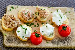 Tuna fish Bruschetta sandwich with cottage cheese. Healthy  Tuna  fish organic  sandwich with bruschetta, fresh onion  and  cherry tomatoes Royalty Free Stock Image