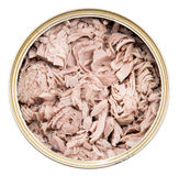 Tuna fish in a can on white Royalty Free Stock Photography