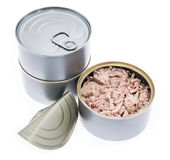 Tuna fish in a can on white Royalty Free Stock Photo