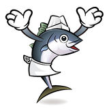 Tuna Fish Character the direction of pointing with both hands. Royalty Free Stock Image