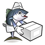 Tuna Fish Character is Holding a Delivery Box of both hands. Royalty Free Stock Photos