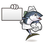 Tuna Fish Character is Holding a Fresh Food Box and business car Royalty Free Stock Images