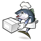 Tuna Fish Character is Holding a Fresh Food Box. Royalty Free Stock Images
