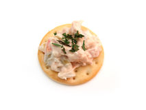 Tuna fish on cracker Royalty Free Stock Photos