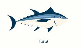 Tuna fish isolated on white background. Simple flat image Royalty Free Stock Photography