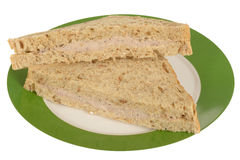 Tuna Fish and Mayo Sandwich on a plate. Isolated white background Royalty Free Stock Image
