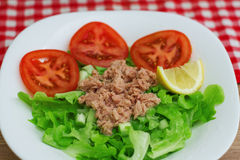 Tuna Fish Meat Over Green Salad. With red tomato on plate Stock Photo