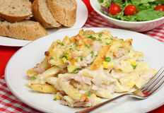 Tuna Fish Pasta Bake. Rigatoni pasta baked with tuna & vegetables in a cheese sauce Stock Photo