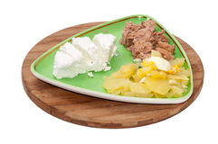 Tuna fish with potatoes and feta cheese Royalty Free Stock Photo