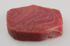 Tuna fish. Tuna raw fish steak on white background Royalty Free Stock Photography