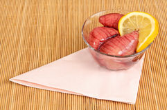 Tuna fish roe on table Stock Images
