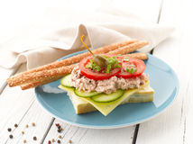 Tuna Fish Salad Sandwich. With Caper, Cucumber, Cheese, Lettuce and Tomato on White Wooden Table. Shallow focus royalty free stock photography