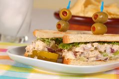 Tuna fish sandwich with chips. A tuna fish sandwich on toast with chips and drink Stock Photography