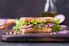 Tuna fish sandwich with onion, lettuce and olive oil on a wooden board. Healthy food concept royalty free stock photos