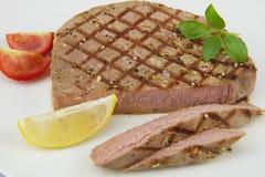Tuna fish. Steak on white background Stock Photos