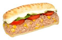 Tuna Fish And Sweet Corn Sandwich. Tuna fish and sweet corn Panini sandwich isolated on a white background Stock Photo