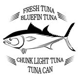 Tuna fish symbol on white background with inscriptions ,Vector. Tuna fish symbol on white background,Vector. Painting beautiful fish with action Stock Photos