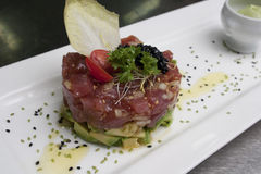 Tuna fish tartar on white ceramic plate Stock Photography