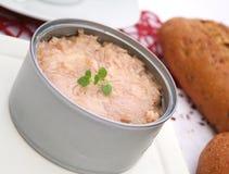 Tuna fish in a tin. Some tuna fish with oil in a tin Royalty Free Stock Photo