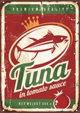 Tuna fish vintage tin sign. Tuna fish in tomato sauce vintage tin sign Royalty Free Stock Images