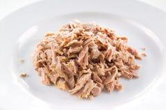 Tuna fish closeup. Tuna fish on white plate. closeup Royalty Free Stock Images