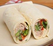 Tuna Fish Wrap Sandwich. Tuna fish and salad wrap sandwich Royalty Free Stock Photos