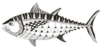 Tuna fish zentangle stylized, vector, illustration, freehand pen Stock Photo