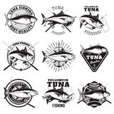 Tuna fishing labels isolated on white background. Design element Royalty Free Stock Images
