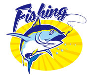 Tuna fishing. Vector of tuna with Fishing word Royalty Free Stock Photos