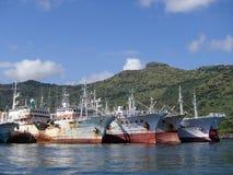 Tuna Fleet im Hafen Stockfoto