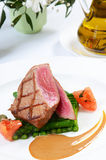 Tuna a grill with an asparagus Royalty Free Stock Photo