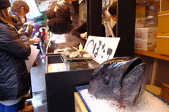 Tuna Head au marché de Tsukiji Photos libres de droits
