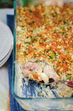 Tuna, Leek, Mornay and Orange Pasta Bake (Macaroni and Cheese) Stock Photo