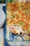 Tuna, Leek, Mornay and Orange Pasta Bake (Macaroni and Cheese) Stock Photo