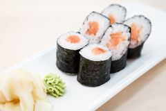 Tuna maki on a plate Royalty Free Stock Images