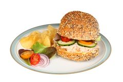 Tuna mayonnaise roll. With salad and crips on a plate isolated against white royalty free stock photos