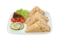 Sandwiches and salad garnish. Tuna mayonnaise sandwiches on granary bread with sald garnish on a plate isolated against white Royalty Free Stock Images