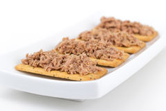Tuna meat on crackers canape Stock Photo