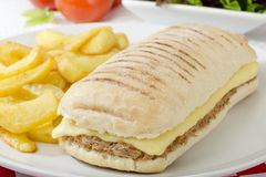 Tuna Melt. Cheese and tuna toasted panini served with salad and chips on a red and white gingham background Stock Photo