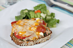 Tuna melt with side salad. On white plate with silverware and glass Royalty Free Stock Image