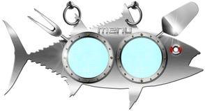 Tuna Menu Metallic Signboard. Menu signboard in the shape of metal fish tuna and kitchen utensils Royalty Free Stock Image