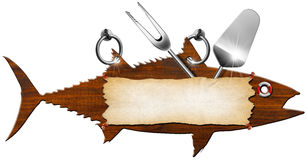 Tuna Menu Wooden Signboard. Menu signboard in the shape of fish tuna and kitchen utensils Stock Photos