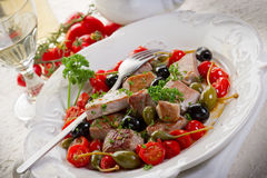 Tuna messinese recipe Royalty Free Stock Photos